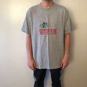 VINTAGE • Shut Up and Fish Fruit of the Loom Tee
